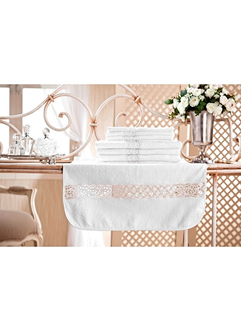 Gül Güler Dantelli Banyo Havlusu Glayor Beyaz
